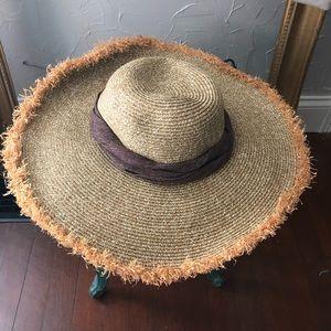 Brown straw sun hat